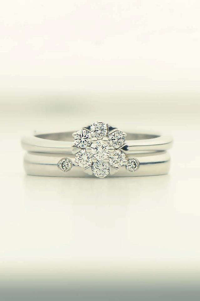 Shaped Handmade Wedding Ring Made To Fit With This Cluster Engagement And Set Diamonds
