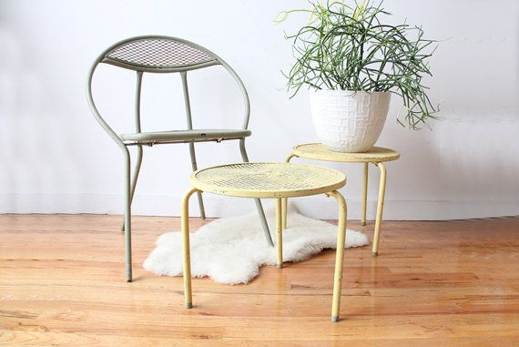 Mid Century Round Metal Side Table by GallivantingGirls on Etsy, $45.00