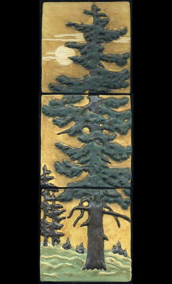 Craftsman Style Fir Tree Triptych Three Tile by RavenstoneTiles, $139.00