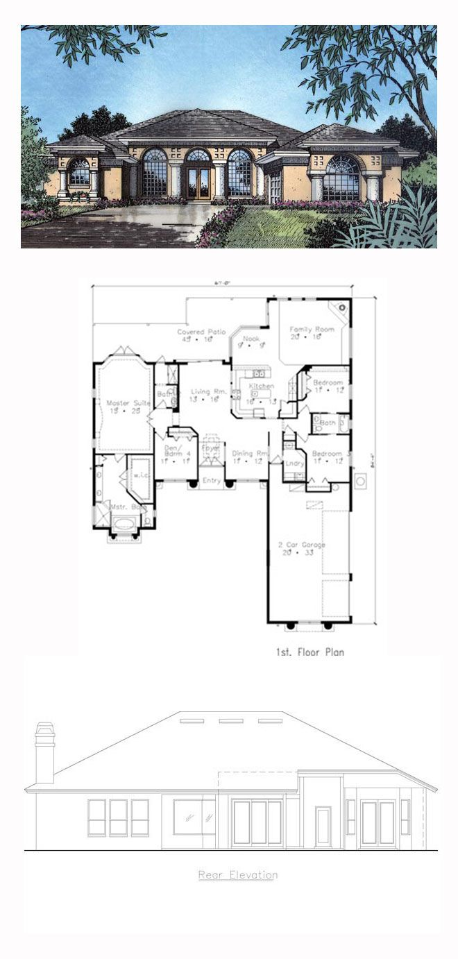 Contemporary European Mediterranean Tuscan House Plan 63377