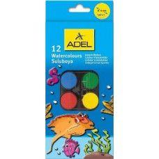 Kisgombos vízfesték készlet 12 darabos, ecsettel - Adel 933 - Akvarell festék…