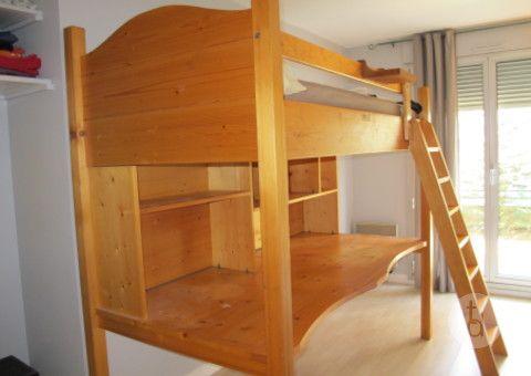 Donne Mezzanine lit 1 place + bureau (en bois massif)