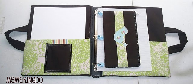 Fabric cover for three ring binder with pencil pouch tutorial.
