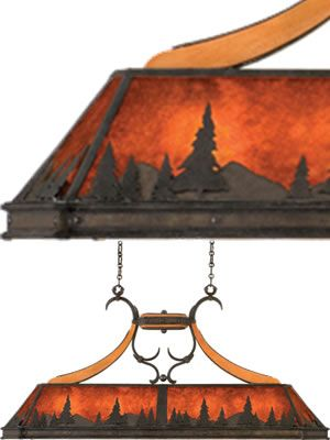 Kalco Aspen Island Light (Treescape) 5827NI Mica pool table light with mountain scene   Art Deco, Art Nouveau, Rustic & Eclectic Pool table & Island Lights - Brand Lighting Discount Lighting - Call Brand Lighting Sales 800-585-1285 to ask for your best price!