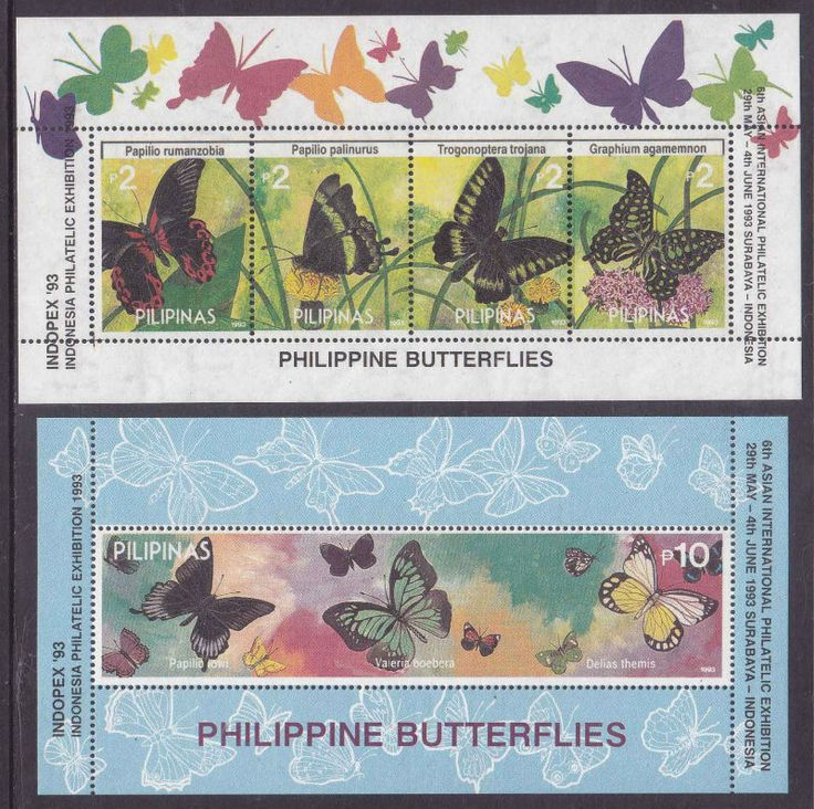 "1993 International Stamp Exhibition ""INDOPEX '93"" - Surabaya, Indonesia. Butterflies (I) 2p each: a, Papilio rumanzobia. b, Papilio palinurus. c, Trogonoptera trojana. d, Graphium agamemnon. Butterflies (II) 10p: Papilio lowi, Valeria boebera, Delias themis."
