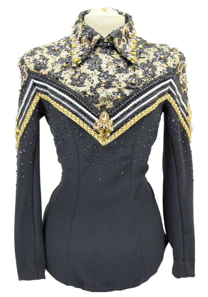 H-Jessica Lynn black Lace and Gold with Pearls HMS – Showtime Show Clothing