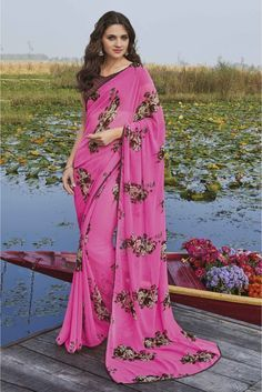 Laxmipati Georgette Casual Wear Printed Saree In Pink Colour Open