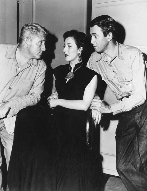 "Spencer Tracy, Valentina Cortese and Jimmy Stewart on the set of ""Malaya"" (1949)"