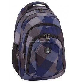 LYNSEY 17 laptoptartós Budmil iskolatáska, kék-fekete-szürke kockás 10110183-S12