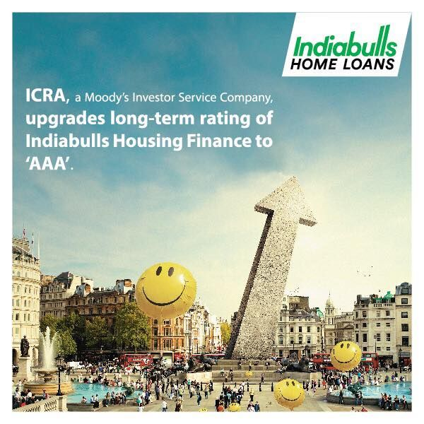 """Indiabulls Housing Finance Ltd's long term Debt Credit Rating Upgraded to AAA by Rating Agency ICRA, A Moody's Investors Service Company. Instruments with """"[ICRA] AAA"""" rating are considered to have the highest degree of safety regarding timely servicing of financial obligations. We thank all our stakeholders for their continued faith which has enabled us to grow from strength to strength.Visit https://www.indiabullshomeloans.com/media/775 for more information"""