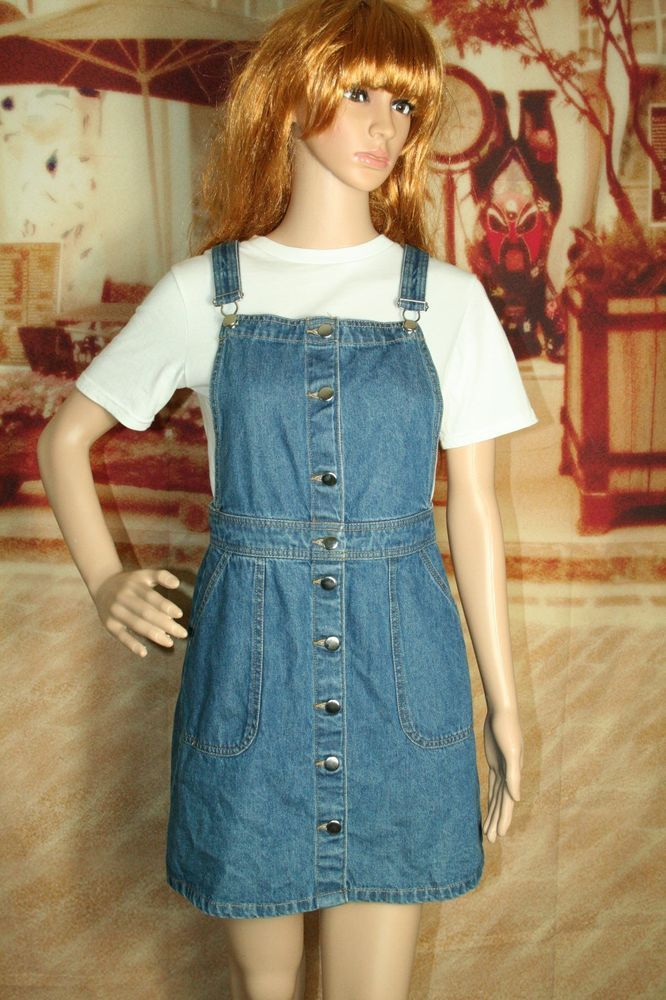 05e39a5913486 Womens H&M pinafore dress denim overall jumper size 8 #HM  #OverallDressPinaforeJumper #AnyOccasion