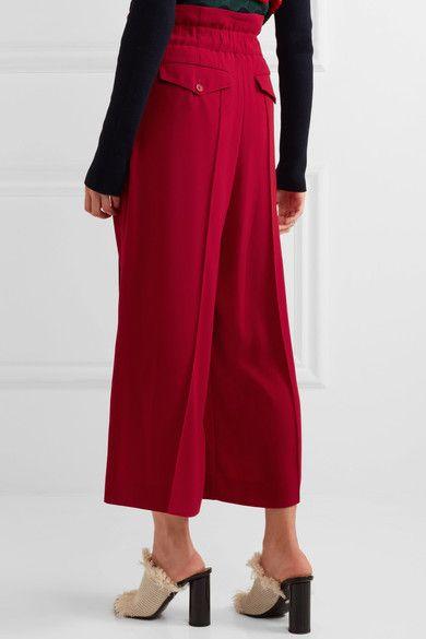 Sonia Rykiel - Pleated Crepe Wide-leg Pants - Red - FR36