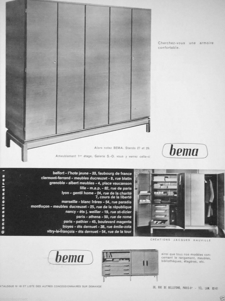 PUBLICITÉ 1957 ARMOIRE BEMA CRÉATIONS JACQUES HAUVILLE  - ADVERTISING | Collections, Objets publicitaires, Publicités papier | eBay!