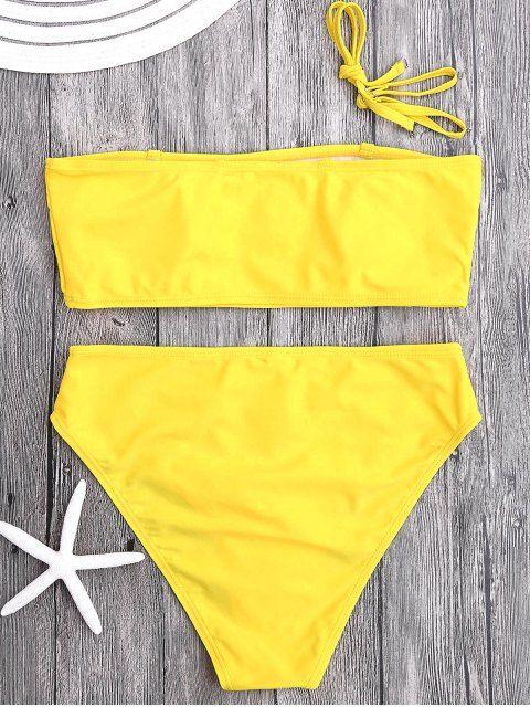 Padded High Cut Bandeau Bikini Set - YELLOW M