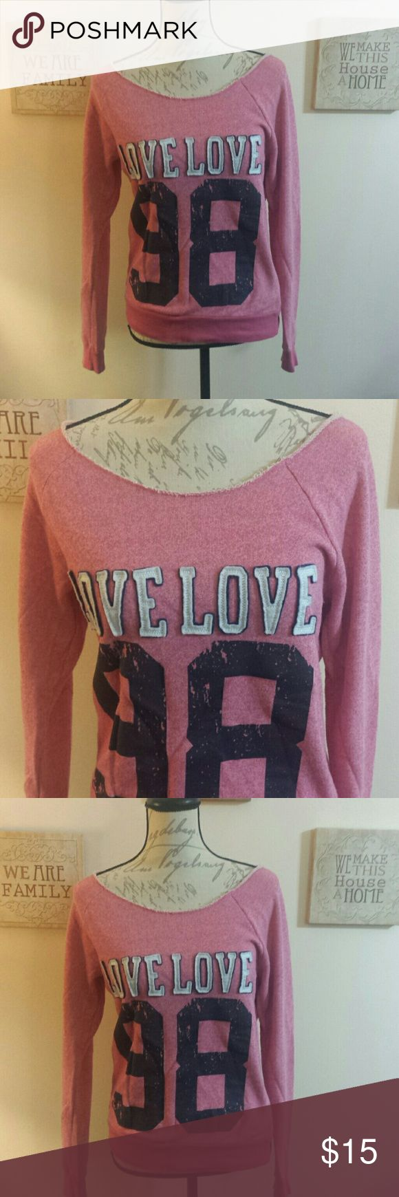 Brand new distressed sweatshirt Never worn adorable sweatshirt so cute bought at maceys .... soft comfortable sweatshirt  salmon pink color Tops Sweatshirts & Hoodies