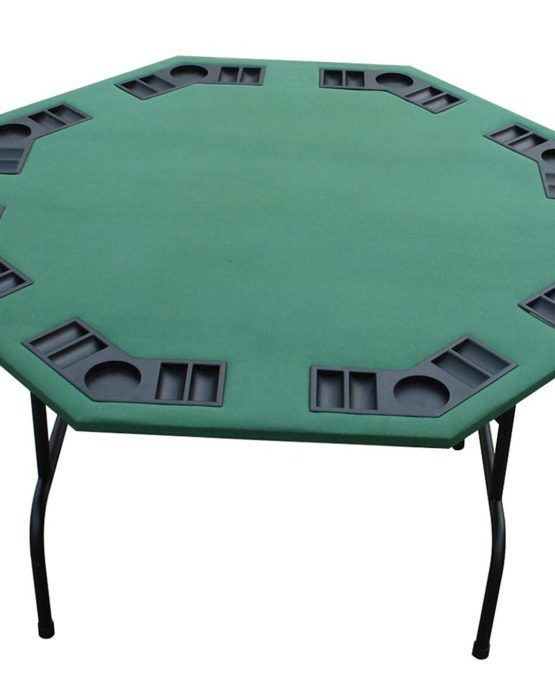 Green Felt Octagon Poker Table Folding Legs    52″ From Point To Point (48″ Straight Across)  8 Player Positions  44 lbs  Green Felt  Exclusive Poker Table From PokerOutlet's Website