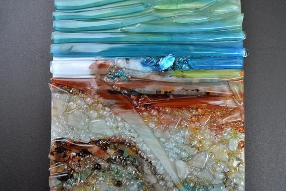 Fused Glass Wall Hanging Art Mounted On Steel In Time Enamel