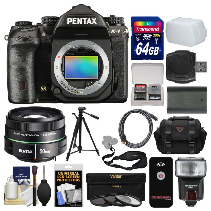 Pentax K-1 Full Frame Wi-Fi Digital SLR Camera Body with 50mm f/1.8 DA SMC Lens + 64GB Card + Case + Flash + Battery + Tripod + Filters Kit. KIT INCLUDES 16 PRODUCTS -- All BRAND NEW Items with all Manufacturer-supplied Accessories + Full USA Warranties:. [1] Pentax K-1 Full Frame Wi-Fi Digital SLR Camera Body + [2] Pentax 50mm f/1.8 DA SMC Lens + [3] Transcend 64GB SDXC 300x Card + [4] Spare D-Li90 Battery +. [5] Precision Design DSLR350 Flash + [6] PD 1500 DSLR Camera Case + [7]…