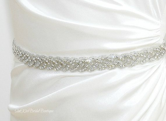 BRIE Braided Rhinestone Bridal Sash,Beaded Crystal Sash,Bridesmaids,Wedding Gown Belt via Etsy #belt