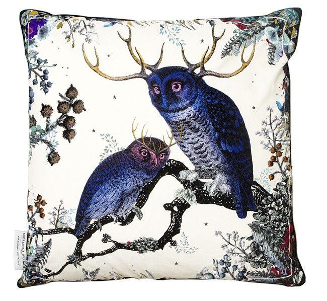 Twin Owls cushion by Kristjana S. Williams
