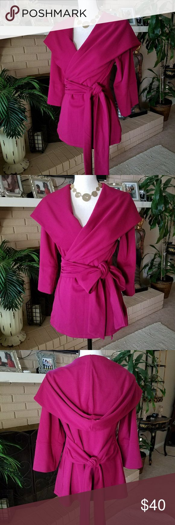 Wrap Cardigan Akira Red label Super Soft & Cozy Hooded Wrap cardigan jacket by Akira Chicago Red Label ***Sz large but fits like a med to me*** Im 5'5/135lbs/36D & it fits me perfect  Fushia color  (pics true to color) Worn once Soooo Versatile! Dress it up or wear it to yoga!  No flaws  Will Trade BUNDLE TO SAVE AKIRA Jackets & Coats