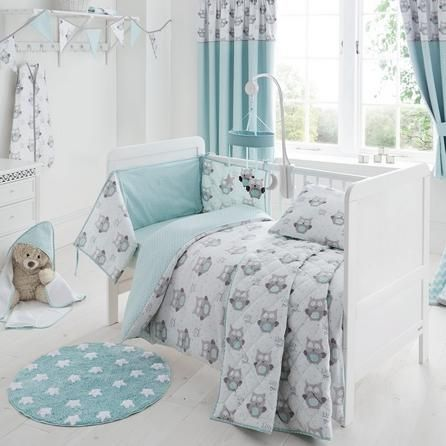 Dunelm Reversible Duck Egg Blue Little Owls Nursery Cot Bed Duvet Set