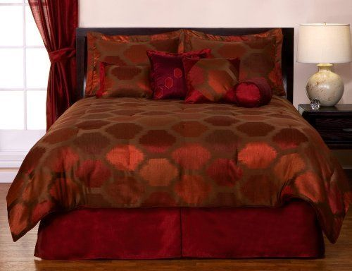 $149. 8 Piece Burgundy Red Bed-In-A-Bag Blaze Jacquard
