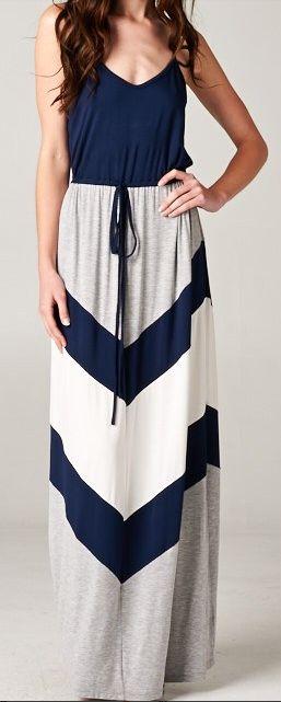 Chevron Striped Maxi Dress