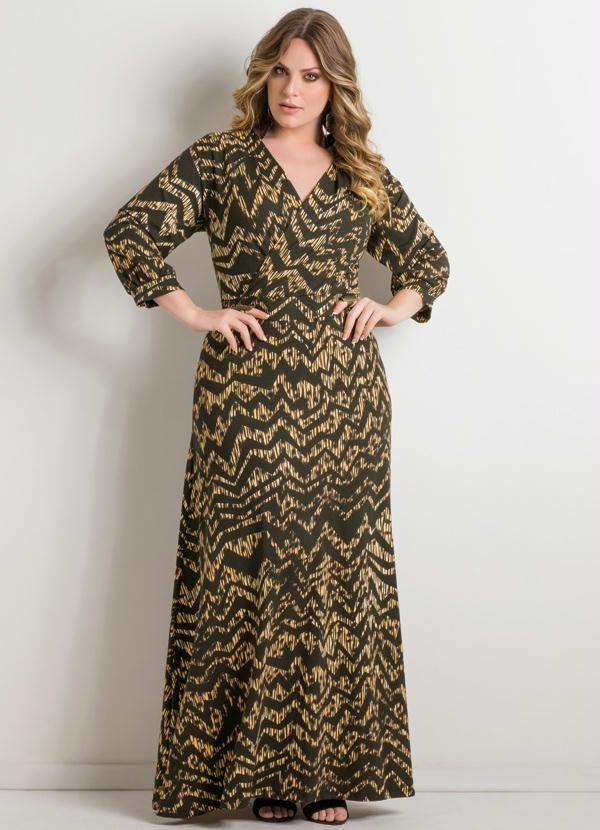 Vestido Longo Estampa Chevron Plus Size - Posthaus