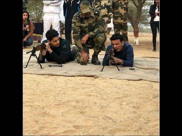 The cast and crew of Neeraj Pandey's 'Aiyaary' visited the BSF camp in Jaisalmer ahead of film's release. Filmmaker Neeraj Pandey along with Manoj Bajpayee, Sidharth Malhotra, Rakul Preet Singh and Pooja Chopra visited the BSF camp in Jaisalmer after the team received an...