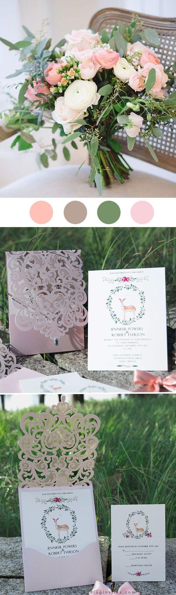 Romantic Blush Pink Pocket Laser Cut Wedding Invitations with Rhinestone EWWS222 #summerwedding #pinkweddinginvitations
