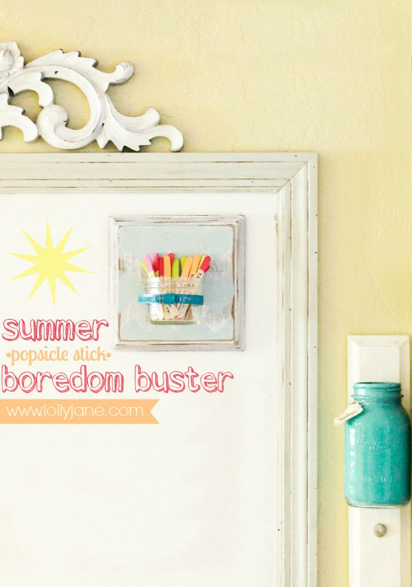 Summer boredom buster using popsicle sticks in a jar!