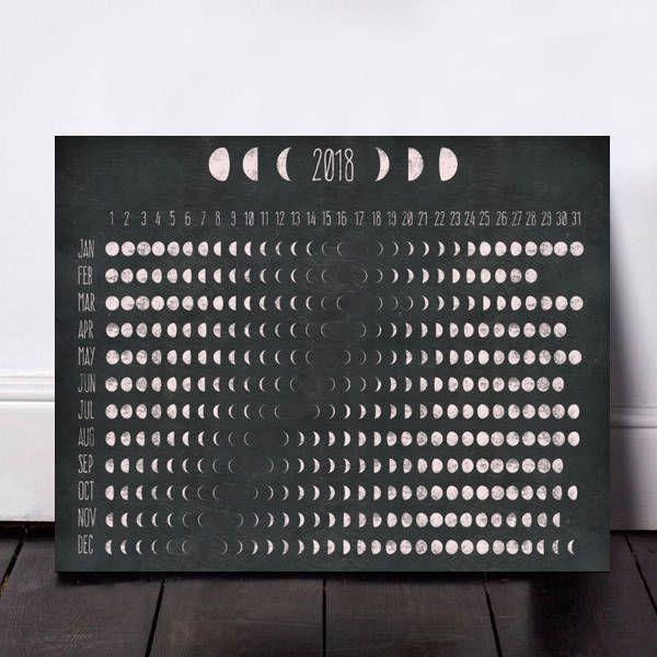 2018 Moon Calendar, Moon Phases, Moon Phase Calendar, Moon Calendar, Lunar Calendar, Printable Calendar, Moon, Chalkboard Prints, Moon Art