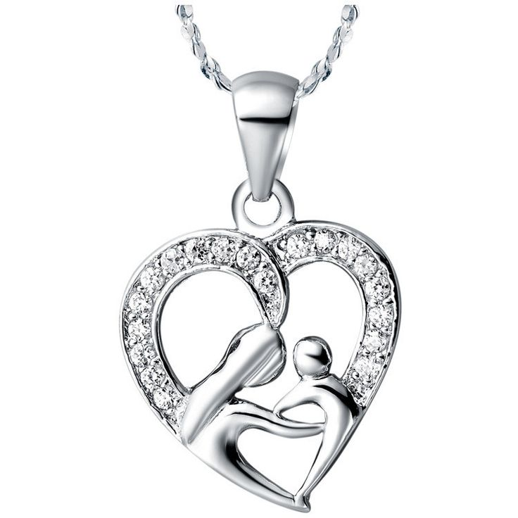 Fashion Jewelry Accessories I Love You Mom Heart Necklaces & Pendant With 925 Silver Chain Love Gift for Mother collier femme