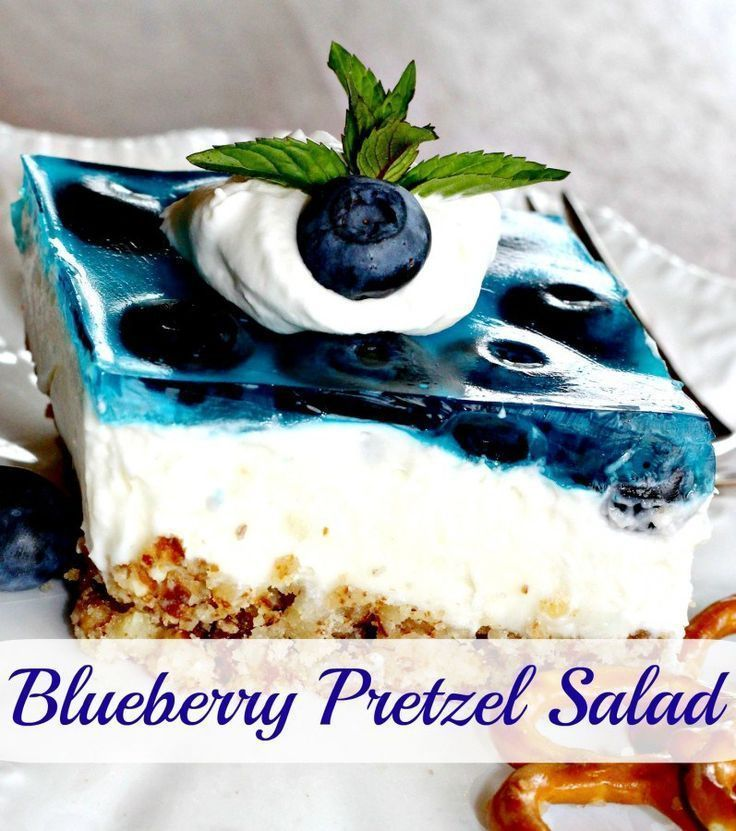 Blueberry Pretzel Salad (I'd call it dessert!).  It's a fun variation of the traditional raspberry pretzel salad. - Momcrieff
