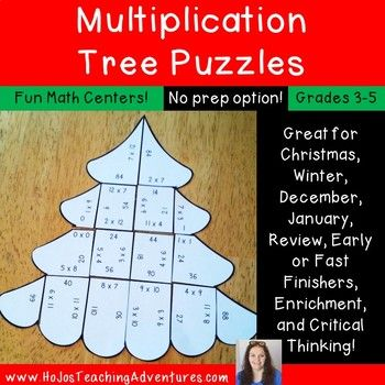 Christmas Math Centers: Multiplication Christmas Tree Puzzles