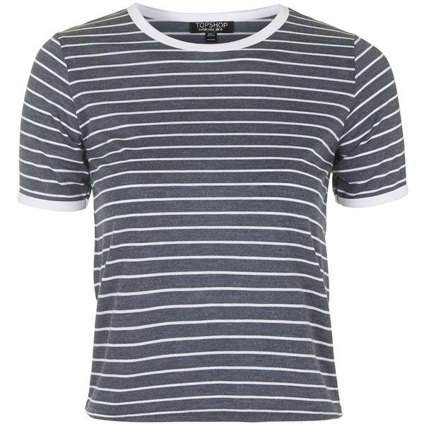 TOPSHOP Stripe Contrast Tee ($26) ❤ liked on Polyvore featuring tops, t-shirts, shirts, topshop, t shirt, navy blue, striped tee, navy striped shirt, striped shirt and navy blue t shirt