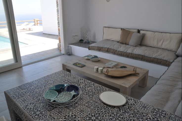 Custom made coffee table, solid wood, oak, Greek interior design