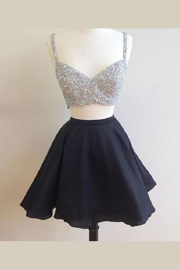 0897f5f2952f Prom Dress Black #PromDressBlack, Short Prom Dress #ShortPromDress, Two  Pieces Homecoming Dresses #TwoPiecesHomecomingDresses Prom Dresses 2019