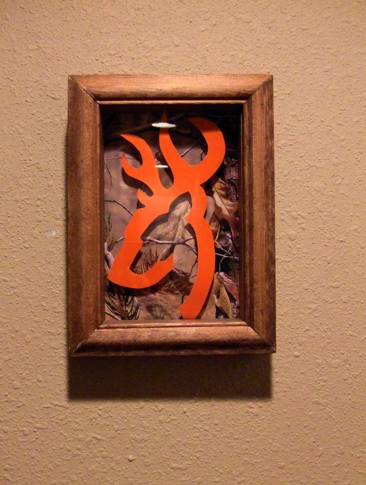 Orange Hunting Buck Shadow Box by TexasRoots on Etsy, $24.00