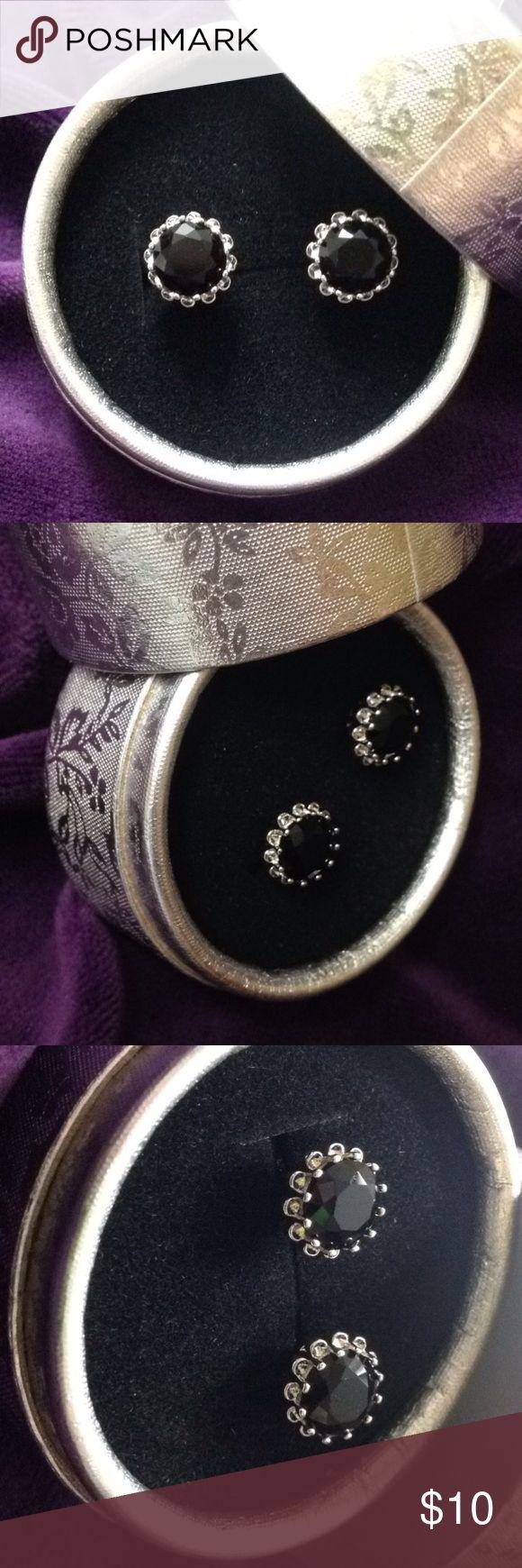 black sapphire earrings 18k white gold filled black sapphire stud earrings.fashion jewelry Jewelry Earrings