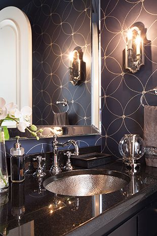 Powder Room - Making a dramatic statement with polished nickel hardware/accessories & stylized wall covering.  Lovely!