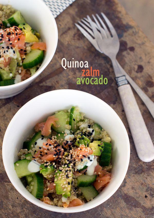 quinoa salade zalm avocado - Brenda Kookt