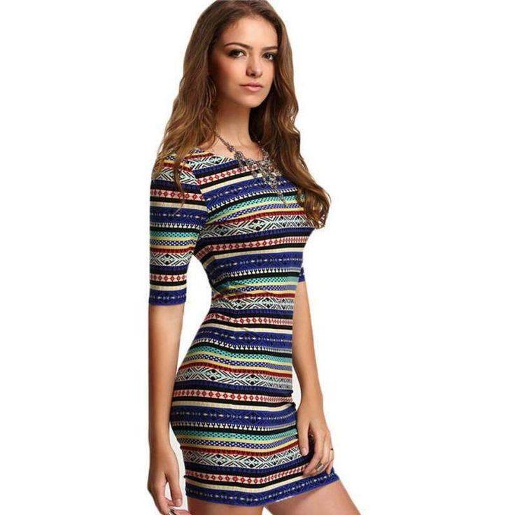 Jecksion Summer Striped Women Dress Printing Slim Bodycon Ladies Work Dresses Fashion Boh