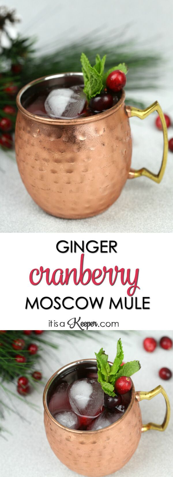 Ginger Cranberry Moscow Mule Cocktail - this festive holiday Moscow Mule has a cranberry twist and is one of my favorite simple cocktail recipes