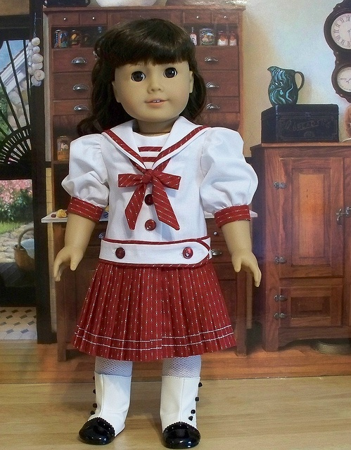 Red/White Pleated Middy made for Samantha by Keepersdollyduds, via Flickr