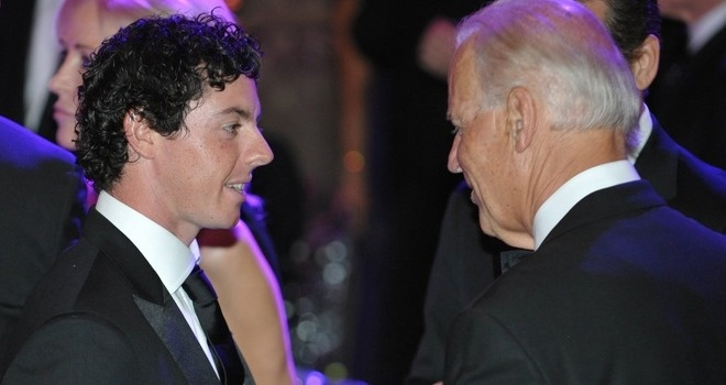 Rory McIlroy with Joe Biden at the Whitehouse.