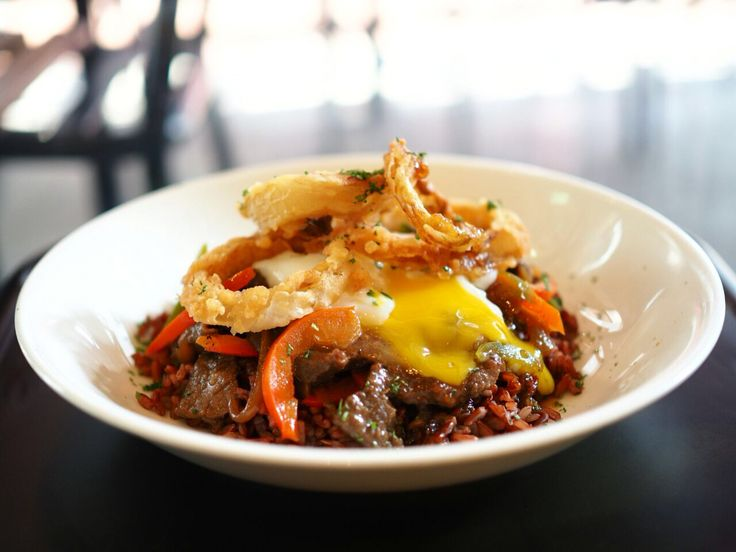 Beef bulgogi with wild rice tossed with peppers