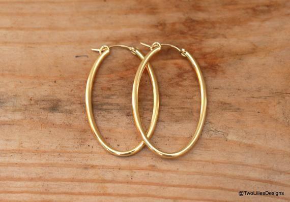 fdb82f31f3177 14K Gold Hoop Earrings, Oval Hoop Earrings, Gold Filled Hoops ...