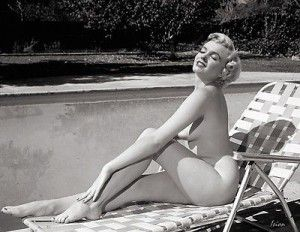 """Marilyn Monroe – """"Morning Sun"""" This Marilyn Monroe fantasy photographic artwork by Ision, portrays her in the nude, by her backyard pool, and reveling in the gentle warmth of a late morning Sun in..."""